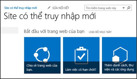 Ảnh chụp màn hình site SharePoint mới hiển thị các ô được sử dụng để tùy chỉnh site