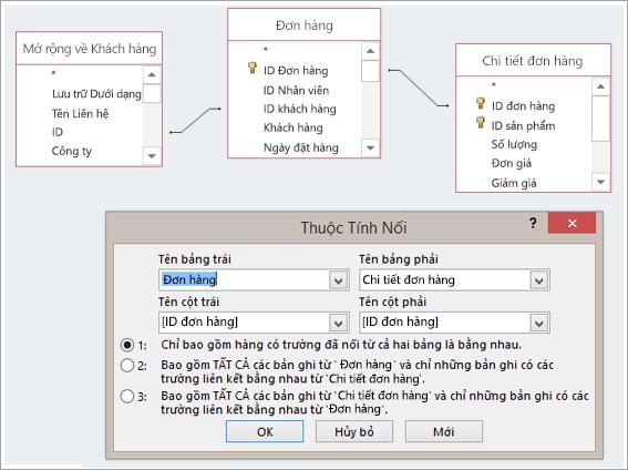 Screenshot of ba bảng và thuộc tính nối