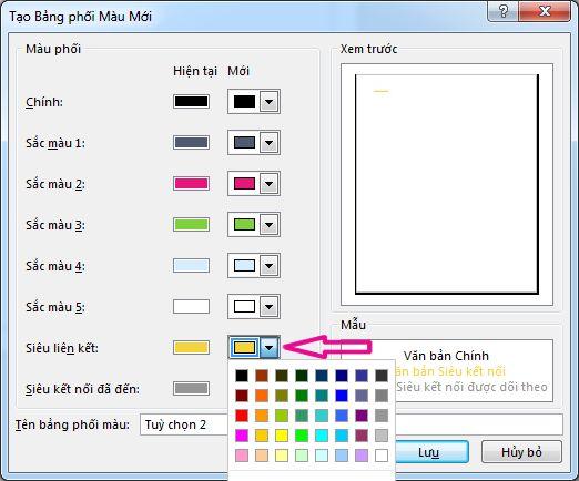 Tạo bảng phối màu Publisher mới để thay đổi màu siêu kết nối