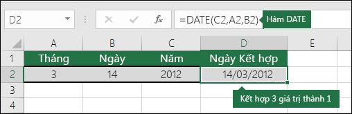 Hàm DATE ví dụ 2