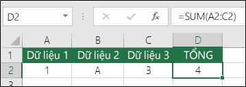 Xây dựng công thức phù hợp.  Thay vì =A2+B2+C2, công thức của ô D2 là =SUM(A2:C2)