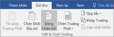 Như một phần của phối thư Word, trên tab gửi thư, trong nhóm trường viết & chèn, chọn dòng lời chào.