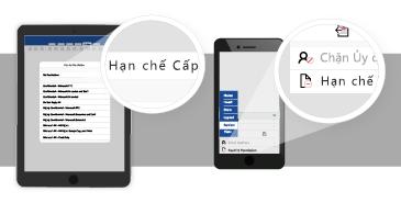 Máy tính bảng và điện thoại với các bong bóng được phóng to hiển thị các tùy chọn sẵn dùng để đặt quyền truy nhập vào tài liệu Office