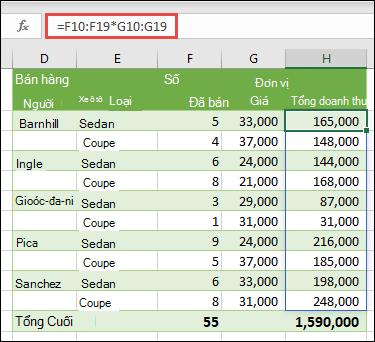 Hàm Multi-Cell Array trong ô H10 = F10: F19 * 5Mp: G19 để tính toán số xe được bán theo đơn giá