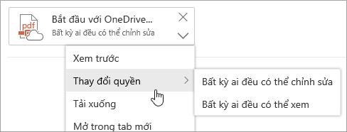 Ảnh chụp màn hình menu Thao tác thêm với tùy chọn Thay đổi quyền được chọn