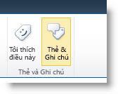 Lệnh thẻ xã hội trên tab Danh sách hoặc Thư viện của ribbon