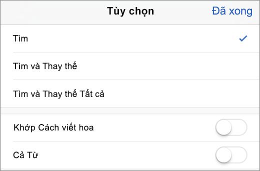 Hiển thị các tùy chọn tìm kiếm và tìm trong Word cho iPhone.