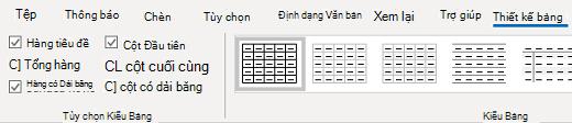 Nhóm kiểu bảng thiết kế bảng Outlook cho Windows