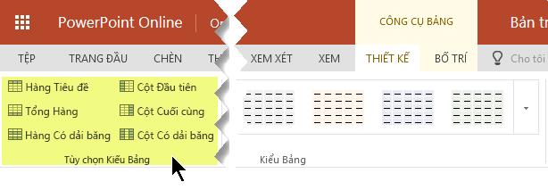 Bạn có thể thêm kiểu nền các hàng và cột trong bảng.