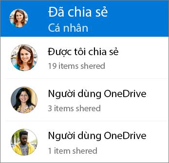 Dạng xem được chia sẻ tệp trong ứng dụng OneDrive cho Android