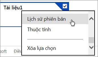 Tùy chọn menu lịch sử phiên bản OneDrive