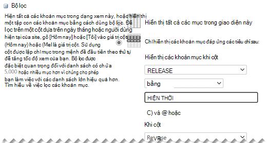 Dưới mục Sửa Cài đặt, hãy xác định Bộ lọc mà bạn muốn cho dạng xem của bạn.