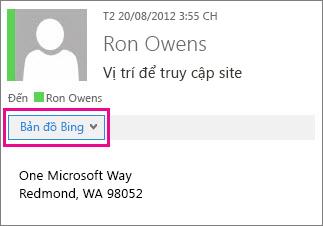 Thư Outlook hiện ứng dụng Bản đồ Bing