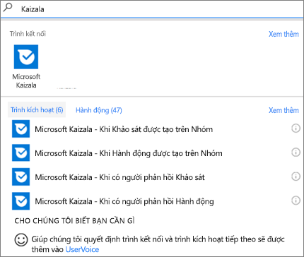 Ảnh chụp màn hình: Nhập Kaizala, sau đó chọn Microsoft Kaizala-khi người nào đó có thể phản hồi đến một khảo sát