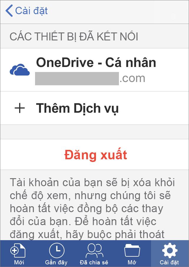 Hiển thị tùy chọn đăng xuất trong Office for iOS