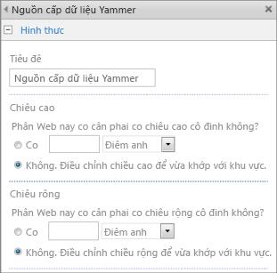 Ảnh chụp màn hình của trang thiết đặt phần ứng dụng nguồn cấp Yammer với phần chiều rộng và chiều cao được tô sáng