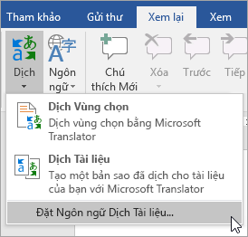 Hiển thị thiết đặt ngôn ngữ dịch tài liệu dưới theTranslate menu