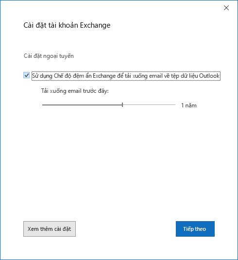 Hộp thoại thiết lập tài khoản, trang thiết đặt tài khoản Exchange.