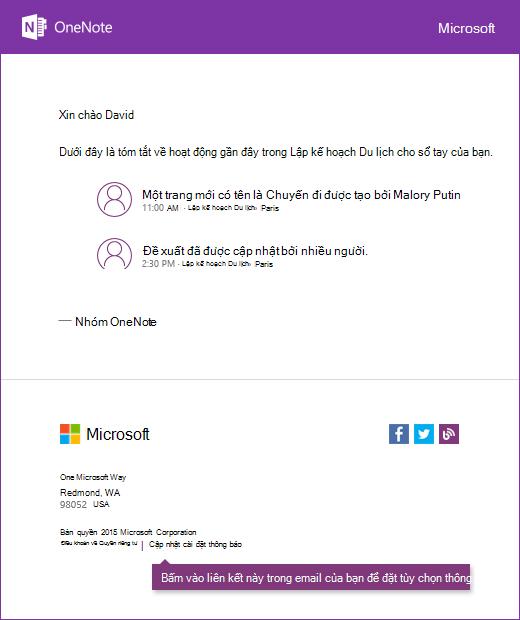 Mẫu OneNote email thông báo