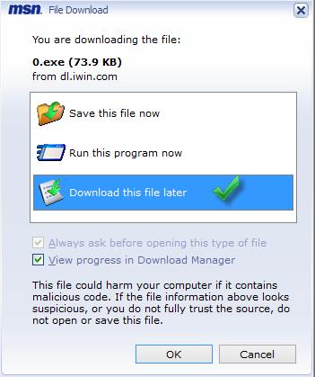 Hộp thoại tải xuống tệp MSN