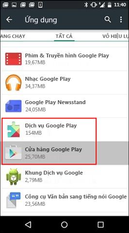 Xóa Bộ đệm ẩn của Ứng dụng Cửa hàng Google Play