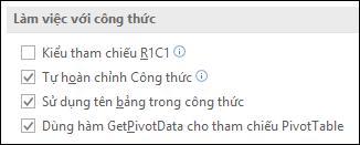 Tệp > tùy chọn > công thức > làm việc với công thức > kiểu tham chiếu R1C1