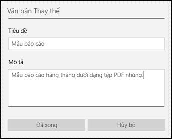 Thêm văn bản thay thế vào tệp nhúng trong ứng dụng OneNote for Windows 10
