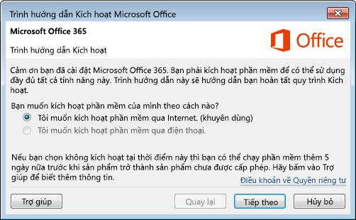 Hiển thị trình hướng dẫn kích hoạt cho Office 365