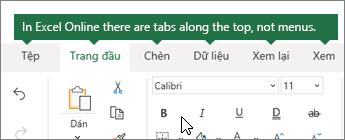 Trang chủ, chèn, dữ liệu, xem tab trong Excel cho web