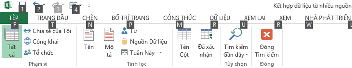 Mẹo Phím của Ribbon Power Query