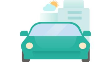 Đồ họa của một chiếc xe đang lái trước toà nhà.