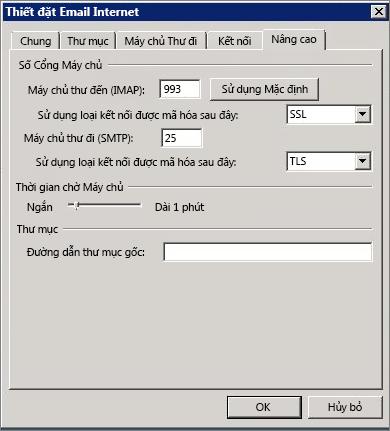 Ảnh chụp màn hình của tab Nâng cao trong hộp thoại Thiết đặt Email Internet.