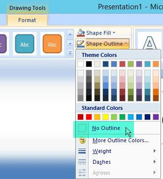 Chọn Viền ngoài Hình dạng, rồi chọn Không có Viền ngoài từ menu xuất hiện