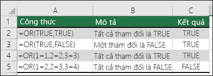 Ví dụ về cách dùng hàm OR.