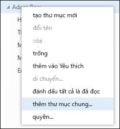 Tùy chọn menu bấm chuột phải Thêm thư mục chia sẻ trong Outlook Web App