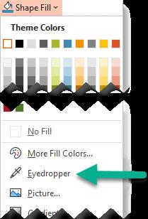 Công cụ Eyedropper được đặt trên menu tô hình dạng.
