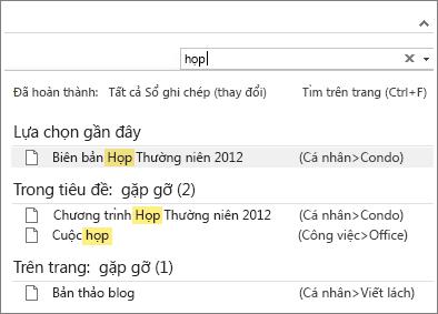 Sử dụng tính năng Tìm kiếm để tìm ghi chú ở mọi vị trí trong OneNote.