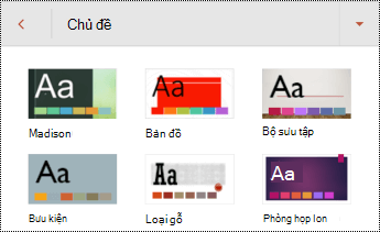 Chủ đề cho các trang chiếu trong PowerPoint for Android.