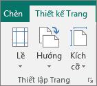 Nhóm Thiết lập Trang trên tab Thiết kế Trang.