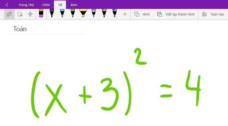 Viết một phương trình toán học trong OneNote cho Windows 10