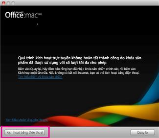 Ảnh chụp màn hình Kích hoạt bằng điện thoại trong Office cho Mac