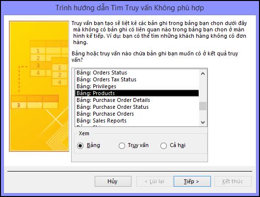 Chọn một bảng hoặc truy vấn trong hộp thoại Trình hướng dẫn Truy vấn Tìm Không khớp