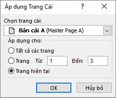Một ảnh chụp màn hình hiển thị hộp thoại áp dụng trang chính.