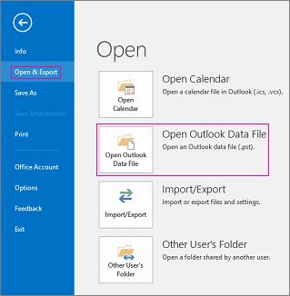 Mở tệp dữ liệu Outlook