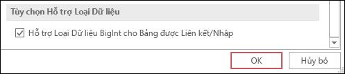 Ảnh chụp màn hình tùy chọn hỗ trợ loại bigint cho các bảng được liên kết/nhập được chọn trong các tùy chọn Access.