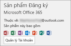 Hiển thị tài khoản email liên kết với Office