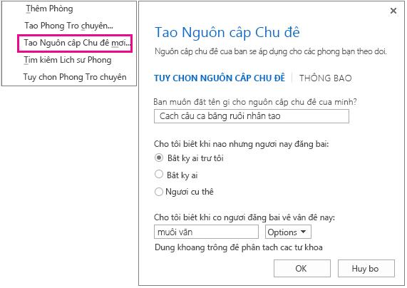 Ảnh chụp màn hình hiển thị vùng chọn menu và cửa sổ để tạo nguồn cấp chủ đề