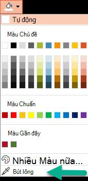Lệnh Eyedropper nằm trên menu màu trong ngăn định dạng nền.