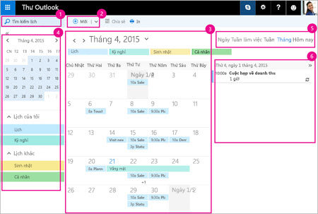 Sử dụng lịch để quản lý cuộc họp của bạn và các sự kiện khác.