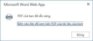 Hộp thoại in Word Online